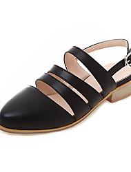 cheap -Women's Flats Low Heel Pointed Toe PU Casual / British Summer Black / White / Beige