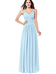cheap -A-Line Spaghetti Strap Floor Length Chiffon Bridesmaid Dress with Ruching