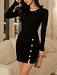 cheap -Women's Basic Sheath Dress - Solid Colored Split Button Black Wine Blue S M L XL
