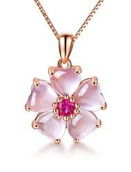 cheap -Rose Gold Color Pink Opal Necklace CZ Pendant Choker Flower Ross Quartz for Women Girls Gift Drop Shipping Necklaces