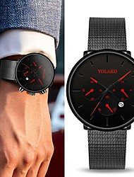 cheap -Men's Dress Watch Quartz Modern Style Stylish Stainless Steel Black / Silver 30 m Water Resistant / Waterproof Calendar / date / day Cool Analog Casual Fashion - Rose Gold Red Blue One Year Battery