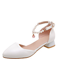 cheap -Women's Heels Low Heel Round Toe Imitation Pearl PU Casual / Minimalism Spring & Summer White / Pink / Beige