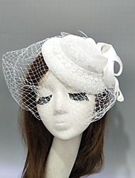 cheap -Feather / Net Fascinators / Hats / Headwear with Feather / Cap / Satin Bowknot 1 Piece Wedding / Special Occasion Headpiece