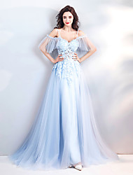 cheap -A-Line Spaghetti Strap Sweep / Brush Train Tulle Sexy / See Through Prom Dress with Appliques 2020