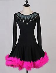 cheap -Latin Dance Dresses Women's Performance Spandex Feathers / Fur / Crystals / Rhinestones Long Sleeve Dress