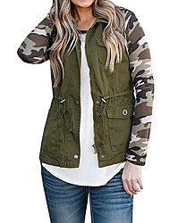 cheap -Women's Daily Fall & Winter Regular Vest, Solid Colored Stand Sleeveless Polyester Black / Wine / Army Green