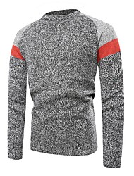 cheap -Men's Color Block Long Sleeve Pullover Sweater Jumper, Round Neck Light gray / White / Dark Gray US34 / UK34 / EU42 / US36 / UK36 / EU44 / US38 / UK38 / EU46