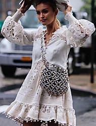 cheap -Women's Chiffon Dress - Snowflake White S M L XL