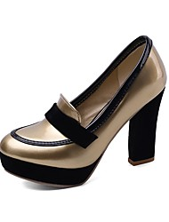 cheap -Women's Heels Chunky Heel Round Toe PU Casual / Minimalism Spring &  Fall Black / Gold / Burgundy / Daily