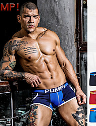 cheap -Men's Mesh / Print Sexy Boxers Underwear - Normal, Color Block / Solid Colored / Letter Mid Waist Blue Red Navy Blue M L XL