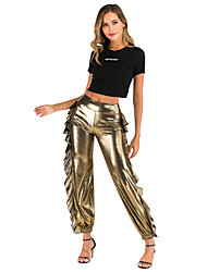 cheap -Women's Active / Exaggerated Bloomers Pants - Solid Colored Ruffle Black Purple Gold S M L