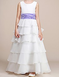 cheap -A-Line Floor Length Pageant Flower Girl Dresses - Polyester Sleeveless Jewel Neck with Ruching