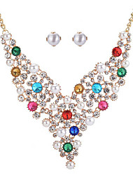 cheap -Women's Pearl Bridal Jewelry Sets Geometrical Flower Stylish Imitation Diamond Earrings Jewelry Gold For Party Festival 1 set