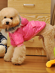 cheap -Dog Coat Hoodie Pajamas Winter Dog Clothes Purple Pink Costume Cotton Solid Colored Casual / Daily S M L XL XXL
