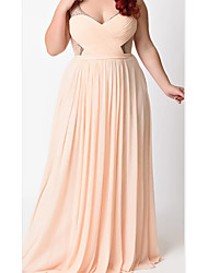 cheap -A-Line Plunging Neck Floor Length Chiffon / Tulle Bridesmaid Dress with Sash / Ribbon / Pleats / Beading