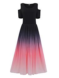 cheap -Women's Sheath Dress - Rainbow Purple Blushing Pink Green L XL XXL XXXL