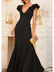 cheap -Mermaid / Trumpet V Neck Floor Length Sequined Elegant / Black Formal Evening / Wedding Guest Dress with Ruffles 2020