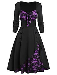 cheap -Women's Congratulations Event / Party Sophisticated Elegant Swing Dress - Color Block Cut Out Bow Mesh Wine Purple Green L XL XXL XXXL