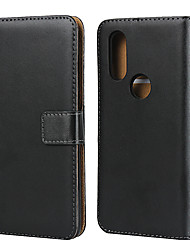 cheap -Case For Motorola MOTO One Vision / Moto G7 / Moto G7 Play Card Holder Back Cover Solid Colored Genuine Leather