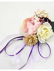 abordables -Fleurs de mariage Petit bouquet de fleurs au poignet Fête de Mariage / Fête d'anniversaire Métal / Tissus 0-20cm