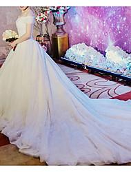 abordables -Trapèze Epaules Dénudées Traîne Cathédrale Tulle Sangles Robes de mariée sur mesure avec Billes / Appliques 2020