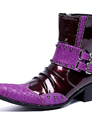 cheap -Men's Fashion Boots Nappa Leather Winter / Fall & Winter Vintage / British Boots Warm Mid-Calf Boots Purple / Party & Evening