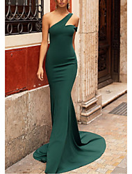 cheap -Mermaid / Trumpet Elegant Formal Evening Dress One Shoulder Sleeveless Sweep / Brush Train Stretch Satin with Pleats 2020