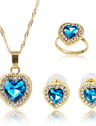 cheap -Women's Cubic Zirconia Bridal Jewelry Sets Geometrical Heart Fashion Earrings Jewelry Gold For Party Daily 1 set