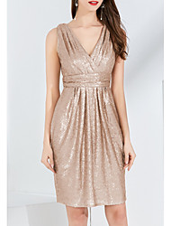 cheap -A-Line V Neck Knee Length Sequined Bridesmaid Dress with Sequin / Tier