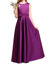 cheap -A-Line Floor Length Pageant Flower Girl Dresses - Polyester Sleeveless Jewel Neck with Pleats