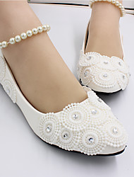 cheap -Women's Wedding Shoes Flat Heel Closed Toe Pearl PU Sweet Spring &  Fall White / Party & Evening