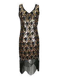 cheap -The Great Gatsby Retro Vintage 1920s Summer Flapper Dress Masquerade Women's Sequins Tulle Sequin Costume Black / Black+Golden / Red Vintage Cosplay Party Halloween Sleeveless
