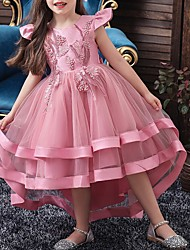 cheap -A-Line Asymmetrical Pageant Flower Girl Dresses - Tulle Sleeveless Jewel Neck with Bow(s) / Beading / Tier