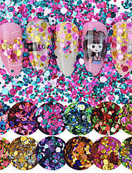 cheap -12pcs Mixed Size 1/2/3mm Nail Glitter Star Flakes 3D Charms Colorful Ultrathin Round Sequins Decoration for Beauty Manicure Tool