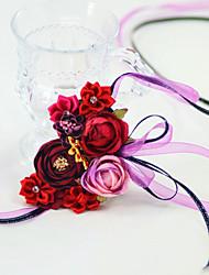 abordables -Fleurs de mariage Petit bouquet de fleurs au poignet Fête de Mariage / Fête d'anniversaire Métal / Tissus 0-10 cm