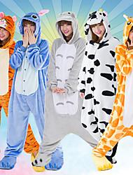 abordables -Enfant Pyjamas Kigurumi Chat Totoro Combinaison de Pyjamas Flanelle Blanche / Orange / Jaune Cosplay Pour Garçons et filles Pyjamas Animale Dessin animé Fête / Célébration Les costumes