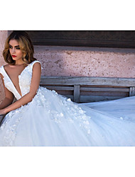 cheap -Ball Gown V Neck Chapel Train Tulle Regular Straps Wedding Dresses with 2020