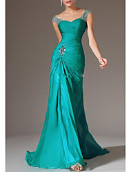 cheap -Sheath / Column Plunging Neck Sweep / Brush Train Chiffon Open Back Formal Evening Dress with Beading / Crystals / Ruched 2020