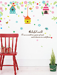 cheap -SK7094 colorful cute house flowers and bird cages bedroom children's room background decorative stickers