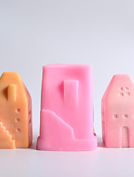 cheap -Small House Candle Mold Creative Fragrance Candle Hand DIY Self Made Candle Material Mold