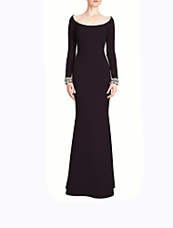 cheap -Mermaid / Trumpet Scoop Neck Floor Length Satin Long Sleeve Sparkle & Shine Mother of the Bride Dress with Draping 2020