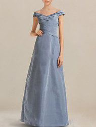 cheap -A-Line Off Shoulder Floor Length Taffeta Short Sleeve Elegant & Luxurious Mother of the Bride Dress with Ruching 2020
