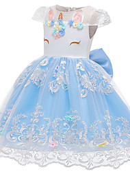 cheap -Unicorn Dress Flower Girl Dress Girls' Movie Cosplay A-Line Slip Cosplay Vacation Dress White / Pink / Light Blue Dress Halloween Carnival Masquerade Tulle Polyester