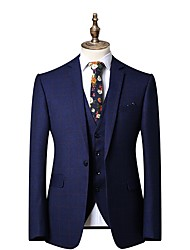 cheap -Men's Chic & Modern Wedding Party Suits Pants - Checkered / Gingham Polyester Blue S