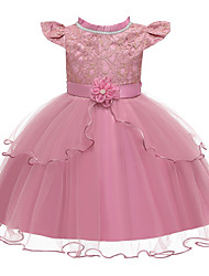cheap -Kids Girls' Active Cute Solid Colored Lace Bow Layered Short Sleeve Knee-length Dress Blushing Pink