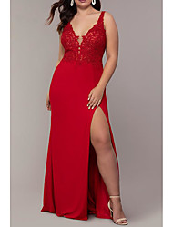 cheap -Mermaid / Trumpet Plunging Neck Sweep / Brush Train Jersey Elegant Prom Dress with Split Front / Lace Insert 2020
