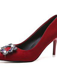 cheap -Women's Wedding Shoes Stiletto Heel Pointed Toe PU Winter Black / Red / Gray