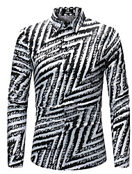 cheap -Men's Daily Going out Basic Shirt - Geometric Print Black