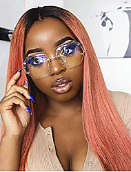cheap -Synthetic Lace Front Wig Silky Straight Middle Part Lace Front Wig Short Ombre Pink Synthetic Hair 10-16 inch Women's Adjustable Heat Resistant Synthetic Pink Ombre