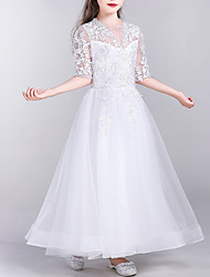 cheap -A-Line Floor Length First Communion Flower Girl Dresses - Tulle Half Sleeve Jewel Neck with Appliques